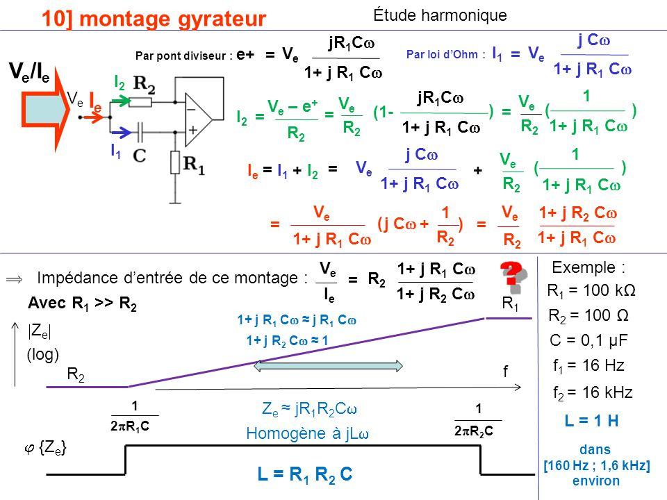 10] montage gyrateur Ve/Ie Ie L = R1 R2 C Étude harmonique jR1C j C